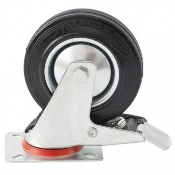 Колесо  поворотное с тормозом d-125мм, крепление платформенное// СИБРТЕХ