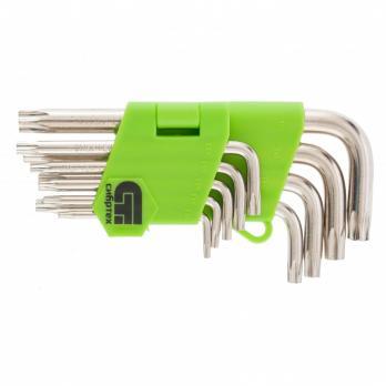 Набор ключей имбусовых Tamper-Torx, 9 шт.: TT10-TТ50, 45x, закаленные, короткие, никель// Сибртех