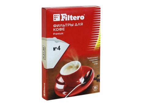 Фильтры для кофе Filtero, №4/40, белые для кофеварок с колбой на 8-12 чашек