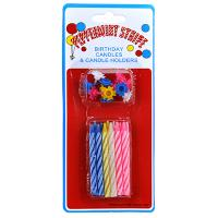 Свечи для торта 6,5см, набор 12 штук, цветные, пластмассовые подставки