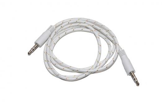Аудио кабель AUX 3.5мм REXANT в тканевой оплетке 1M (Белый)