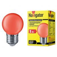 Лампа светодиодная Navigator шар G45 E27 1W, Красный