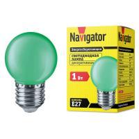 Лампа светодиодная Navigator шар G45 E27 1W, Зеленый