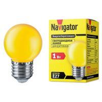 Лампа светодиодная Navigator шар G45 E27 1W, Желтый