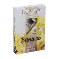 LA DECOR Набор свечей чайных 6шт, парафин, аромат ваниль