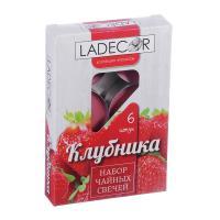 LA DECOR Набор свечей чайных 6шт, парафин, аромат клубника