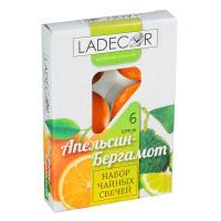LA DECOR Набор свечей чайных 6шт, парафин, аромат апельсин-бергамот