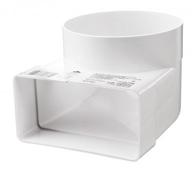 Соединитель ВЕНТС угловой 90º пластиковый для плоских каналов 110*55мм с круглыми d100мм