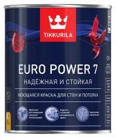 Краска ЕВРО POWER 7 С интерьерная стойкая к мытью матовая 0,9 л Тиккурила