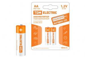 Батарейки аккумуляторные TDM AA-1500mAh Ni-MH BP-2 2шт.