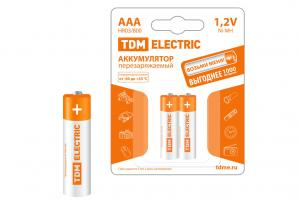 Батарейки аккумуляторные TDM AAA-800mAh Ni-MH BP-2 2шт.