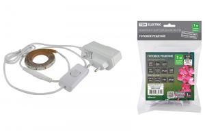 Комплект светодиодной ленты TDM 12В, 4.8 Вт, 6000K, 1м, Адаптер 6В