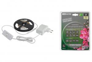 Комплект светодиодной ленты TDM 12В, 7.2 Вт, RGB, 3м, Адаптер 18В, IR-контроллер