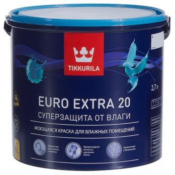 Краска ЕВРО EXTRA 20 А для влажных помещений полуматовый 2,7 л Тиккурила
