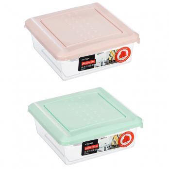 Контейнер для хранения продуктов PATTERN, квадратный, 0.5л, пластик (мята, пудра)