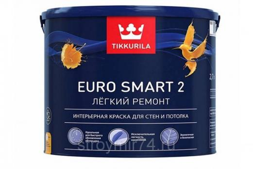 Краска ЕВРО SMART 2 интерьерная глубокоматовая 2,7 л Тиккурила