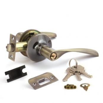 Ручки дверные с защёлкой, ключ-фиксатор Avers 8023-01-AB (Бронза)