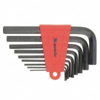 Набор ключей имбусовых HEX, 1,5–10 мм, CrV,  9 шт., оксидированные, короткие,// MATRIX