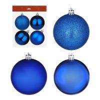 Набор шаров 4 шт СНОУ БУМ, 8см, пластик, в пакете, синий: глянец, матовый, глиттер