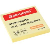 Блок самоклеящийся (стикеры) BRAUBERG пастельный 76х76мм, 100 листов (Желтый)