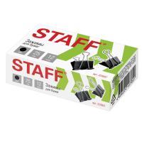 Зажимы для бумаг STAFF, комплект 12 шт, 25 мм, на 100 листов (Черные)