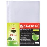Папки-файлы перфорированные А4 BRAUBERG, комплект 100 шт., гладкие, Яблоко, 35 мкм