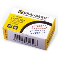 Скрепки BRAUBERG 28 мм с цветными полосками, 100 шт.