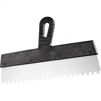 Шпатель из нержавеющей стали, 150 мм, зуб 10х10 мм, пластмассовая ручка// СИБРТЕХ