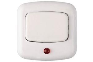 Bylectrica кнопка звонка (выкл. для бытового звонка) ОУ 1кл. белый с индикатором