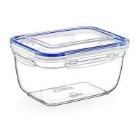 Контейнер для продуктов пластмассовый 1,8л, 20х15х11см, глубокий, с клипсами, воздухонепроницаемый (