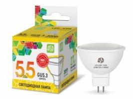 Лампа св/д ASD standard MR16 GU5.3 220V 5.5W(270lm) 3000К 51x50 матов. пластик/алюм  2262