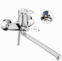 смеситель ванна LEDEME картридж д.40мм длинный излив L-40 дивертор в корпусе керамика L2204