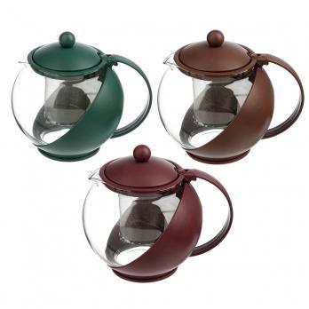Чайник заварочный с сеточкой, 1250мл, стекло, пластик