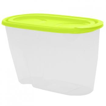 Контейнер пластиковый 0.9л, овал, под сыпучие продукты, 9х11х19,5см (Салатовый)