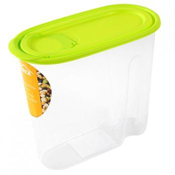 Контейнер пластиковый 1.5л, овал, под сыпучие продукты, 9х17х19,5см (Салатовый)