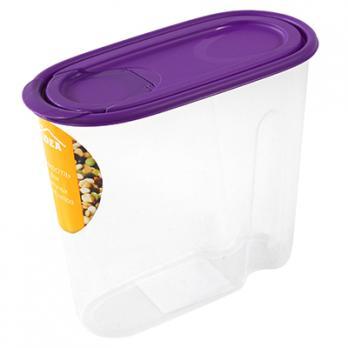 Контейнер пластиковый 1.5л, овал, под сыпучие продукты, 9х17х19,5см (Фиолетовый)