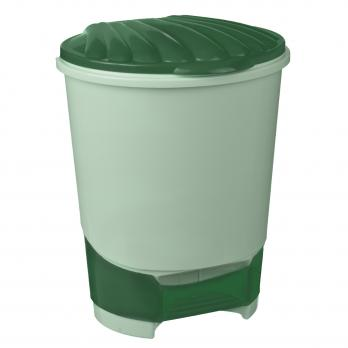 Ведро пластиковое для мусора 10л с педалью 27,8х26,5х34см  (Зеленый)