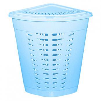 Корзина для белья угловая пластмассовая 45л, 38х38х56см, (Голубой)